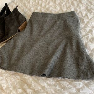 Ann Taylor Charcoal Grey Wool Skater Skirt, Sz 8